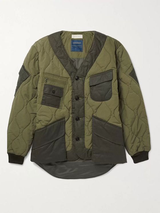 + Lavenham Panelled Quilted Padded Nylon and Cotton Jacket