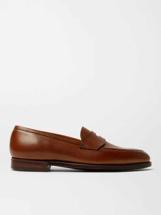 GEORGE CLEVERLEY Bradley Textured-Leather Penny Loafers