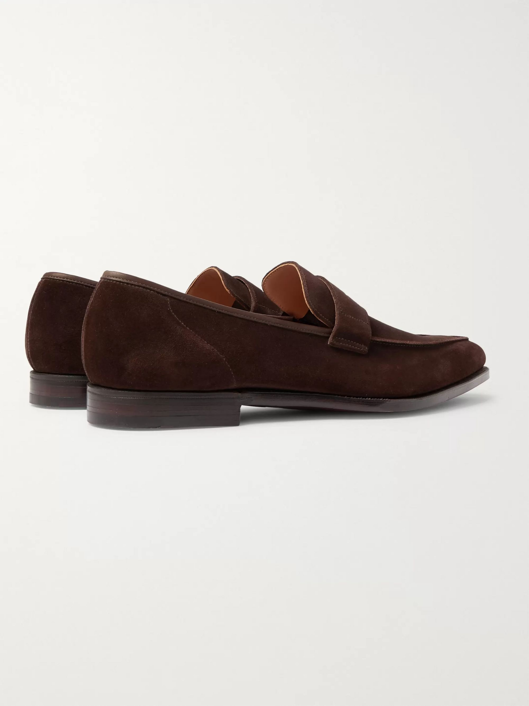 Brown George Suede Penny Loafers | Cleverley