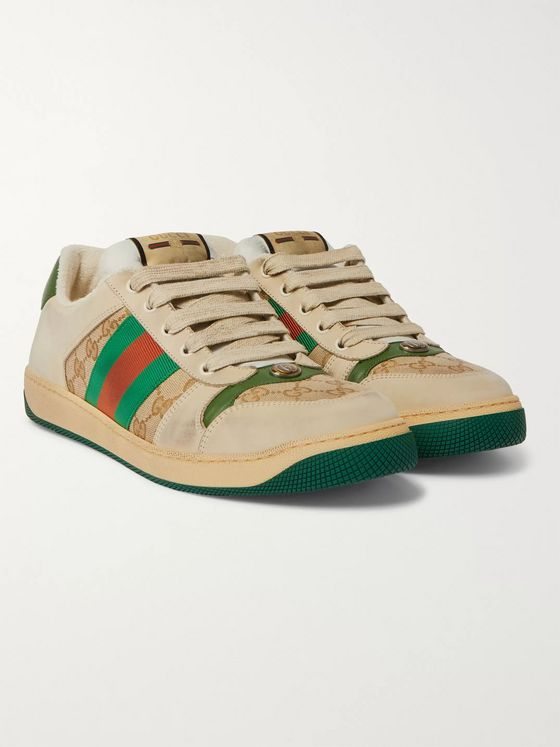 Gucci Screener Monogrammed Canvas and Webbing-Trimmed Distressed Leather Sneakers