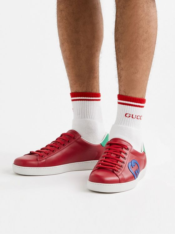 GUCCI Ace Suede-Trimmed Leather Sneakers