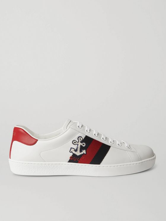 GUCCI Ace Webbing-Trimmed Embroidered Leather Sneakers