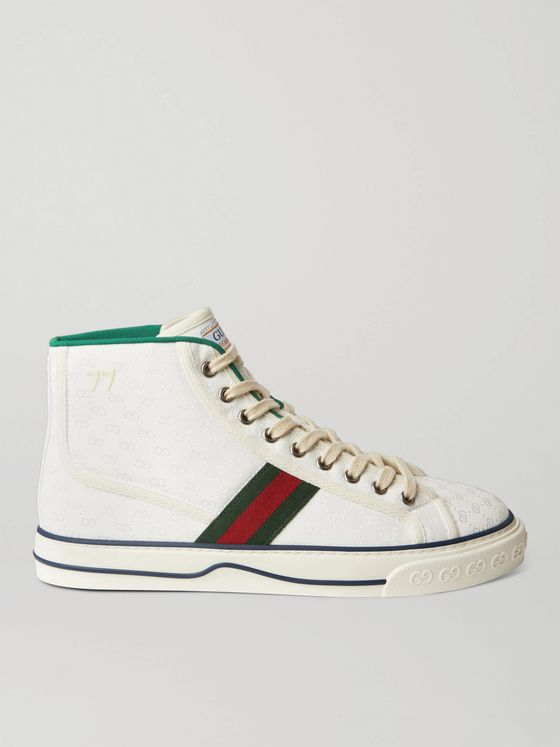 GUCCI Tennis 1977 Webbing-Trimmed Monogrammed Canvas High-Top Sneakers