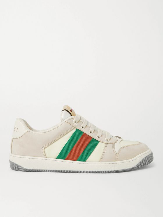 GUCCI Screener Webbing-Trimmed Nubuck, Mesh and Leather Sneakers
