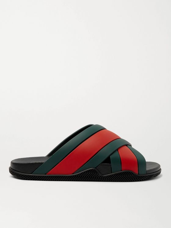 GUCCI Striped Rubber Slides