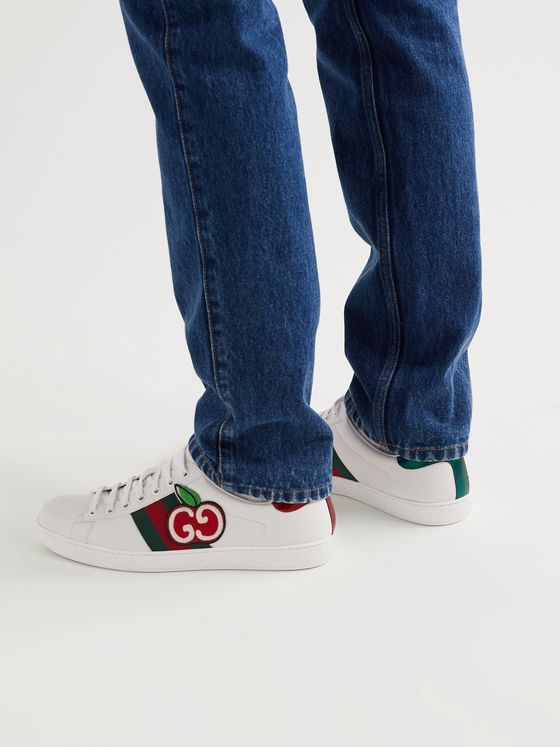 GUCCI New Ace Appliquéd Webbing-Trimmed Leather Sneakers