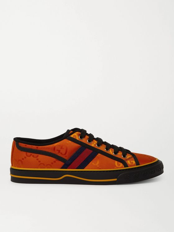 GUCCI Off the Grid Webbing-Trimmed Monogrammed ECONYL Canvas Sneakers