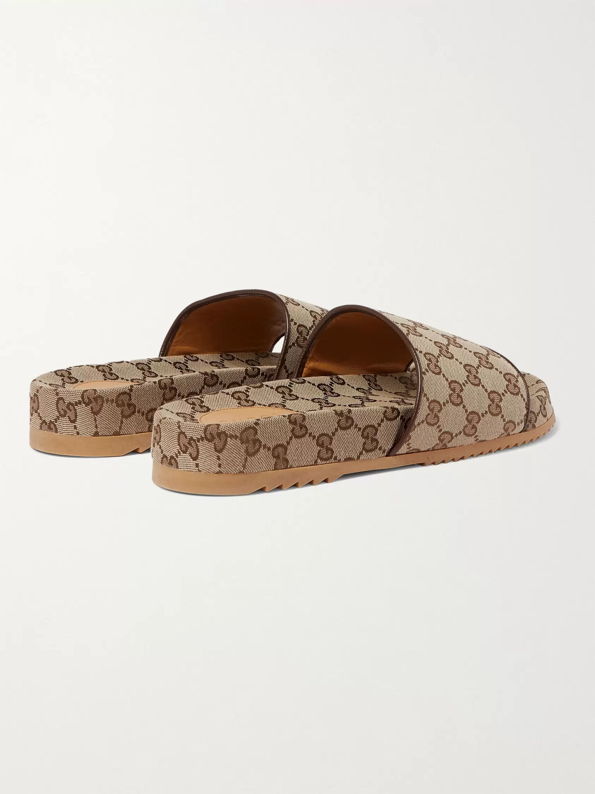 Gucci Leather-Trimmed Monogrammed Canvas Slides