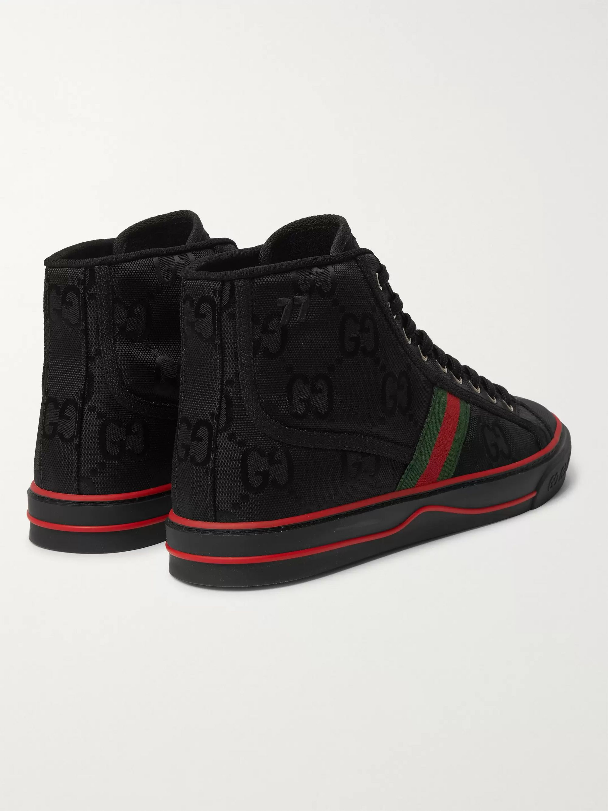 Gucci Off the Grid Webbing-Trimmed Monogrammed ECONYL Canvas High-Top Sneakers