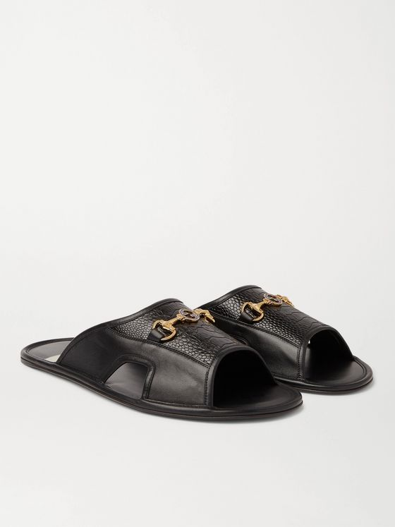 Gucci Horsebit-Detailed Textured-Leather Slides