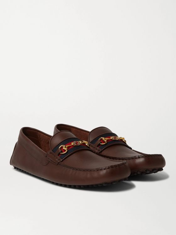 GUCCI Ayrton Webbing-Trimmed Horsebit Leather Driving Shoes