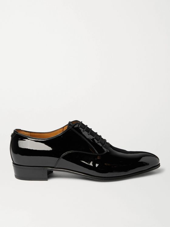 GUCCI Logo-Embellished Patent-Leather Oxford Shoes