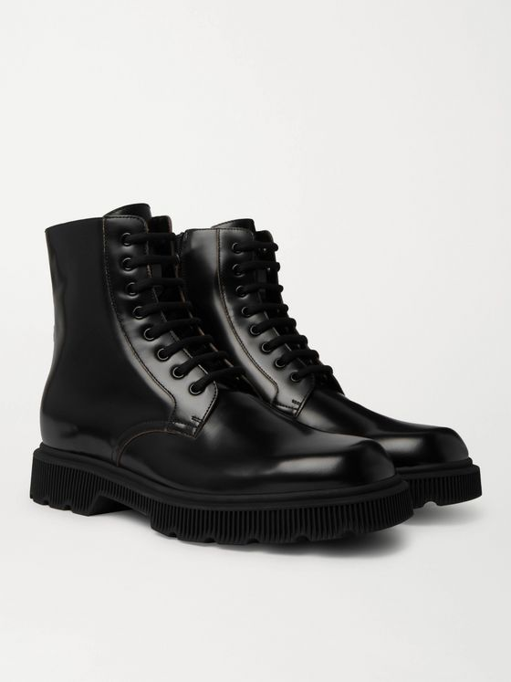 Gucci Mystras Logo-Appliquéd Polished-Leather Boots