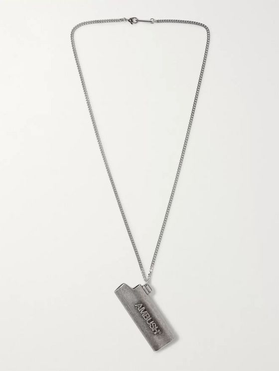 AMBUSH® Logo-Embossed Burnished Silver-Tone Lighter Case Necklace
