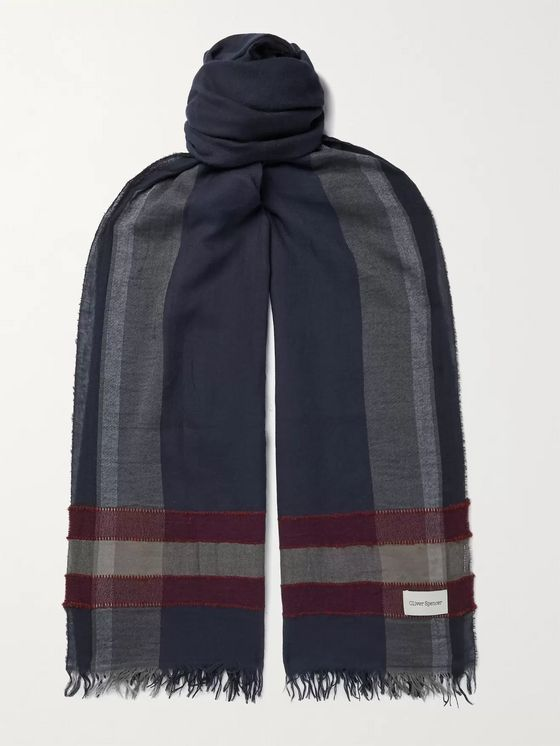 Oliver Spencer Fringed Checked Modal-Blend Scarf