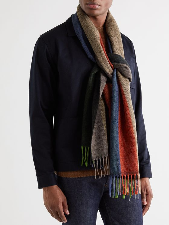 Oliver Spencer Fringed Striped Knitted Scarf