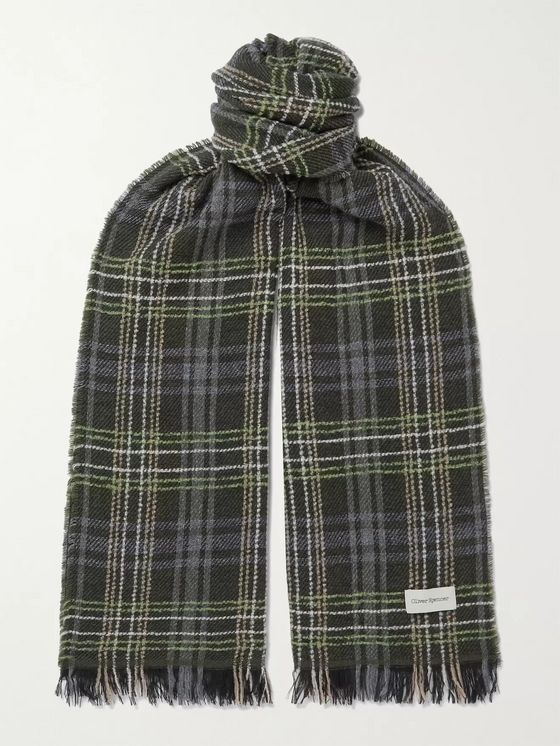 Oliver Spencer Fringed Checked Wool-Blend Scarf