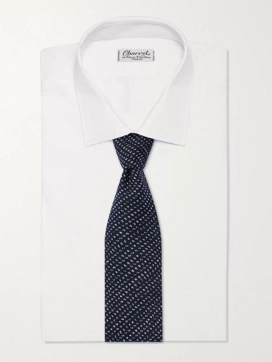 Oliver Spencer 8cm Puppytooth Organic Cotton-Blend Tie