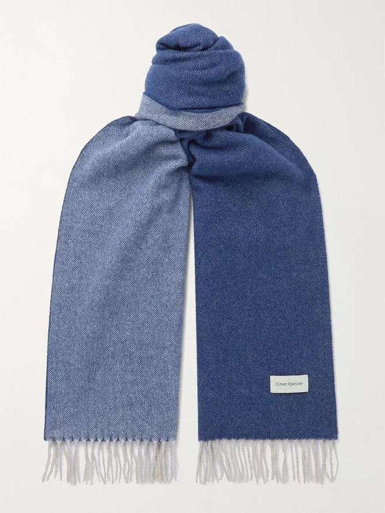 Oliver Spencer Reversible Fringed Virgin Wool and Cashmere-Blend Scarf