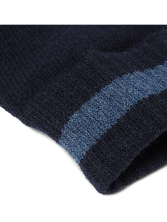 Oliver Spencer Striped Wool-Blend Gloves