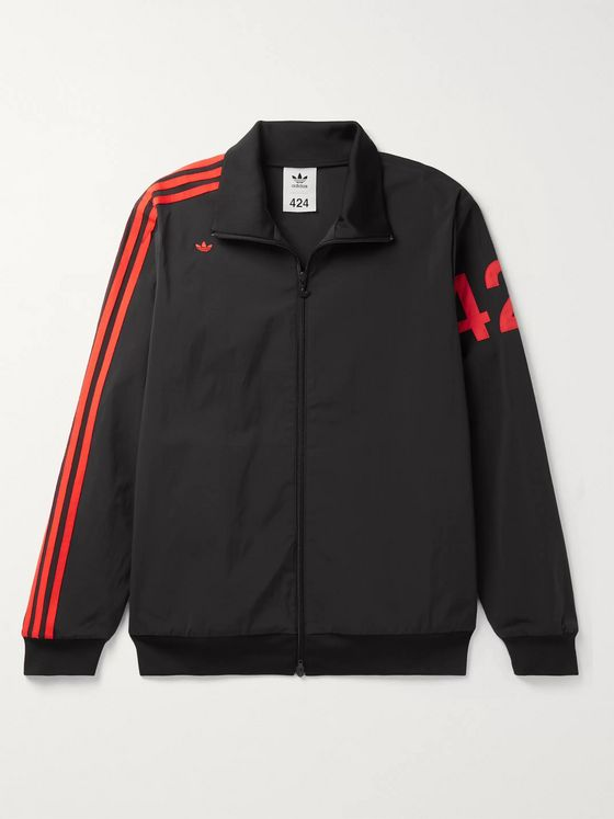 adidas Consortium + 424 Logo-Embroidered Striped Nylon-Blend Track Jacket