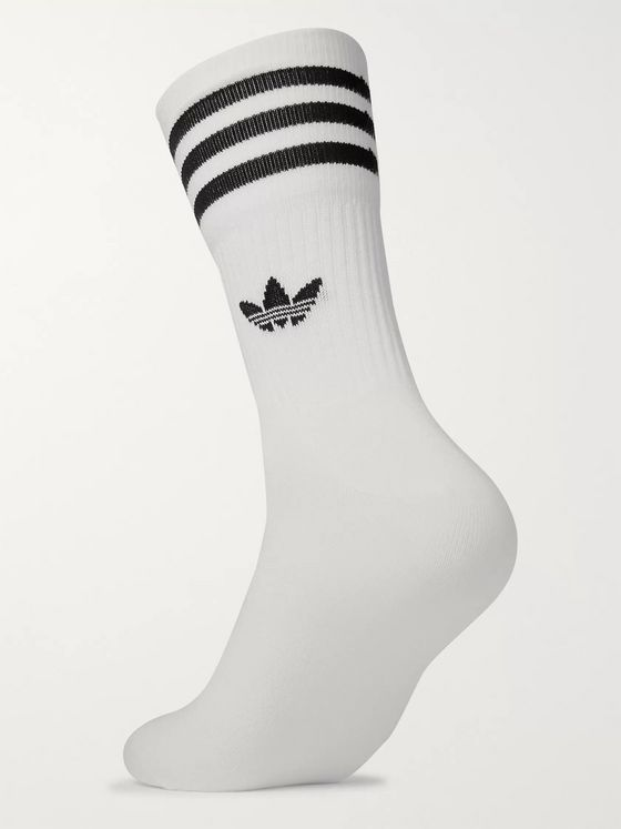 adidas Originals Three-Pack Striped Logo-Intarsia Stretch Cotton-Blend Socks