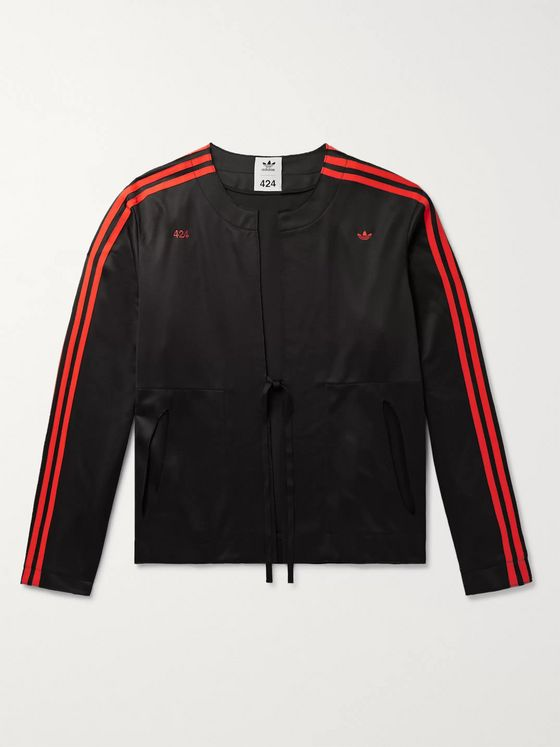 adidas Consortium + 424 Logo-Embroidered Striped Stretch-Jersey Track Jacket