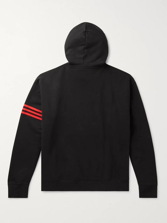 adidas Consortium + 424 Logo-Embroidered Striped Fleece-Back Cotton-Jersey Hoodie