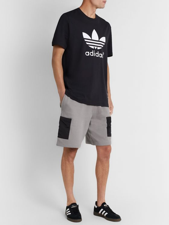 adidas Originals R.Y.V. Shell-Trimmed Loopback Cotton-Jersey Drawstring Shorts