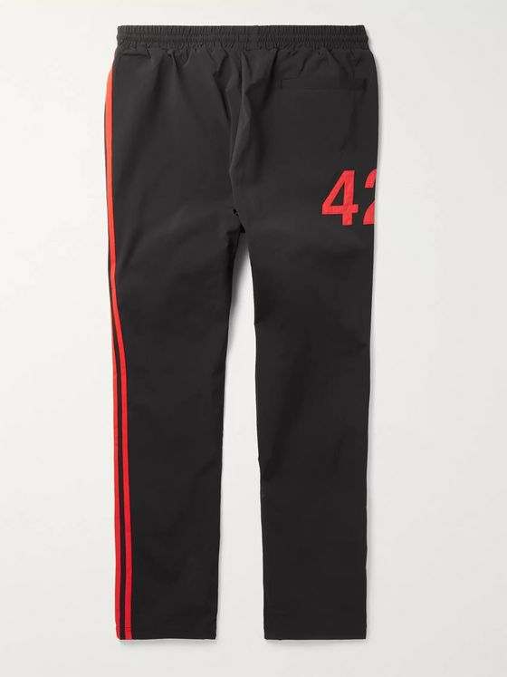 adidas Consortium + 424 Tapered Logo-Embroidered Striped Nylon-Blend Track Pants