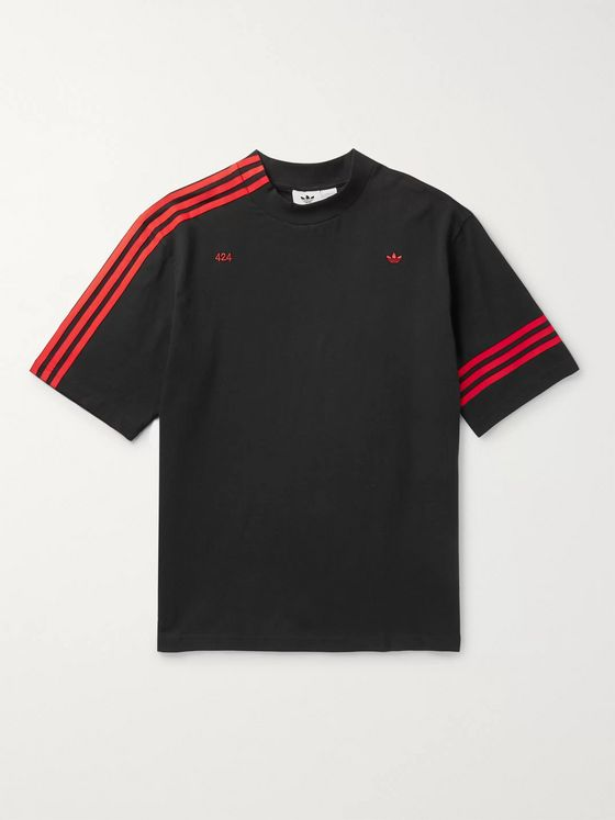 adidas Consortium + 424 R.Y.V. Logo-Embroidered Striped Cotton-Jersey T-Shirt