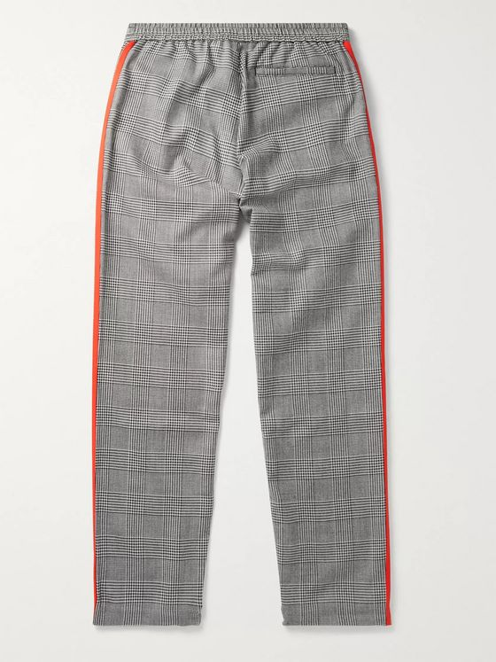 adidas Consortium + 424 Slim-Fit Logo-Embroidered Striped Prince of Wales Checked Woven Track Pants