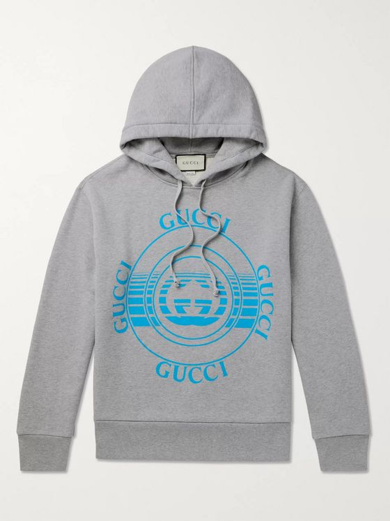 GUCCI Oversized Logo-Print Mélange Loopback Cotton-Jersey Hoodie