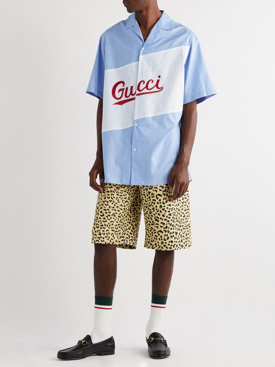 Gucci Oversized Camp-Collar Logo-Embroidered Cotton-Poplin Shirt