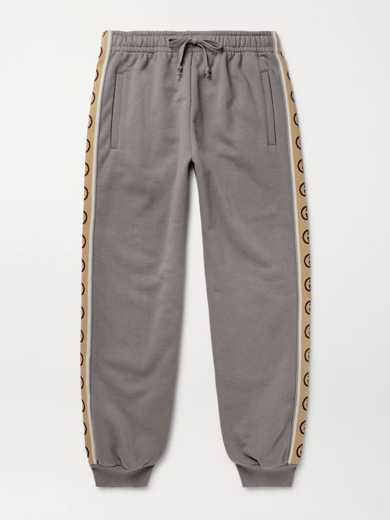 GUCCI Tapered Logo-Jacquard Webbing-Trimmed Loopback Cotton-Jersey Sweatpants