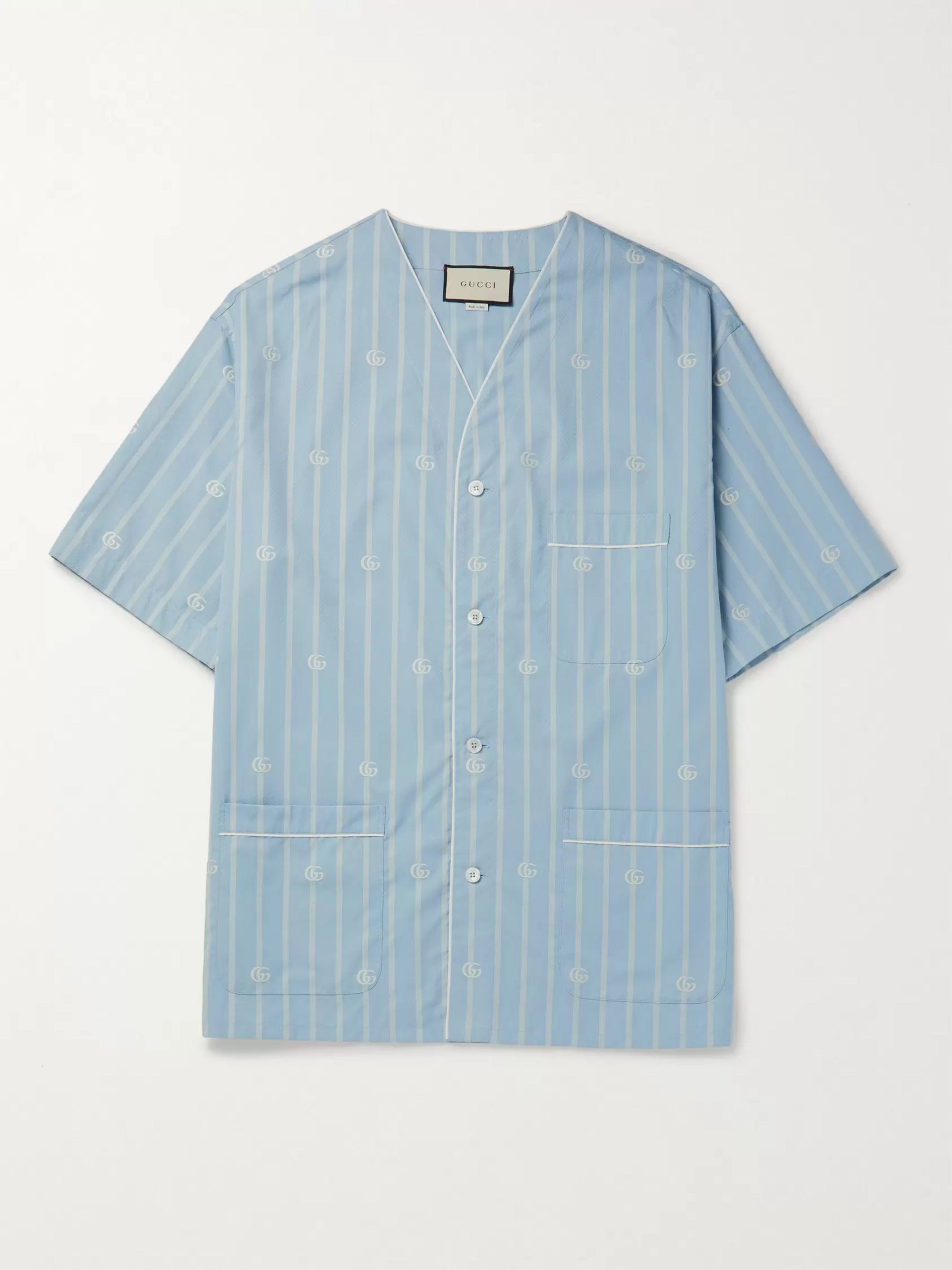 Gucci Collarless Striped Cotton-Jacquard Shirt