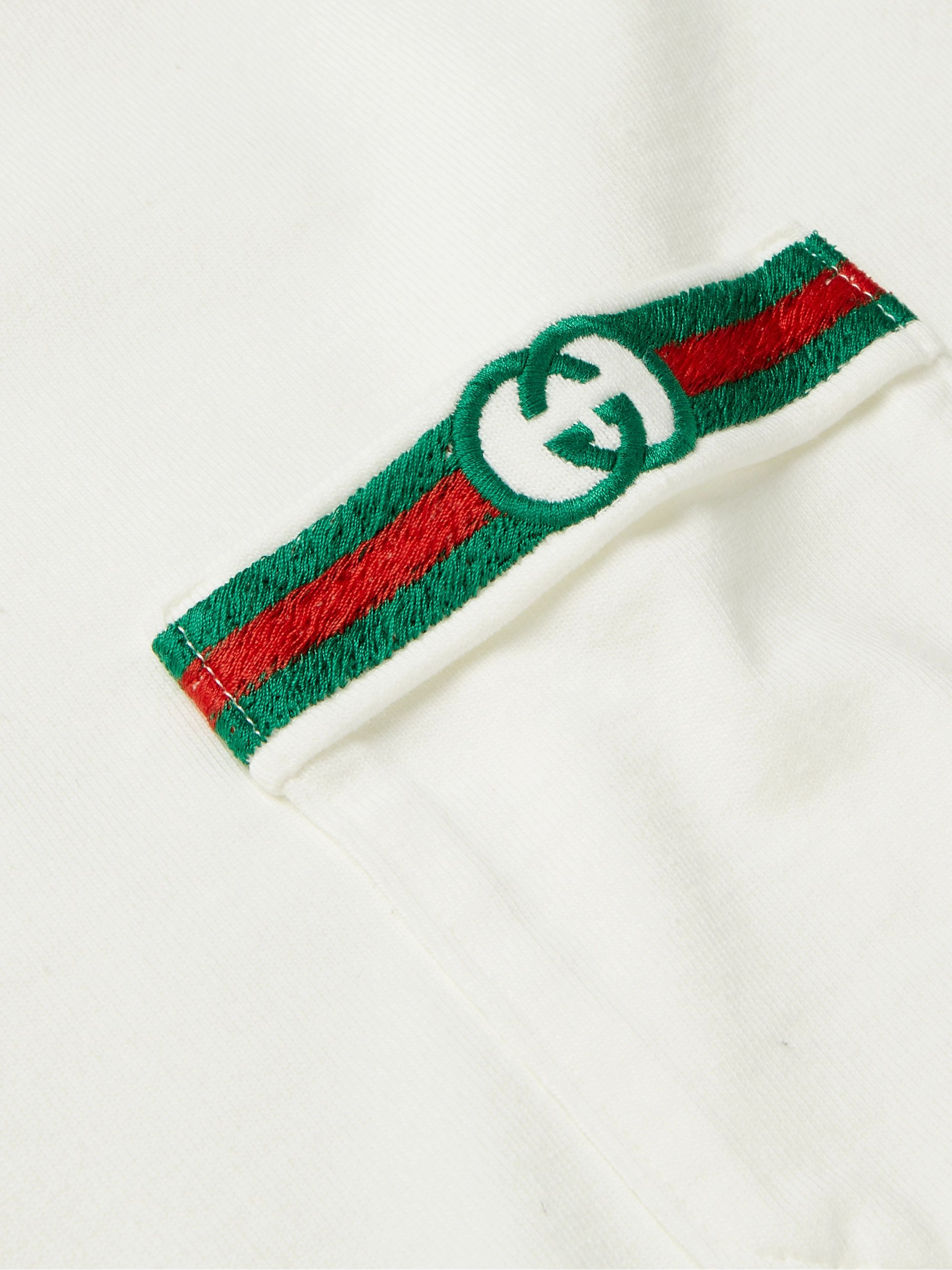 Gucci Contrast-Tipped Logo-Embroidered Cotton Polo Shirt