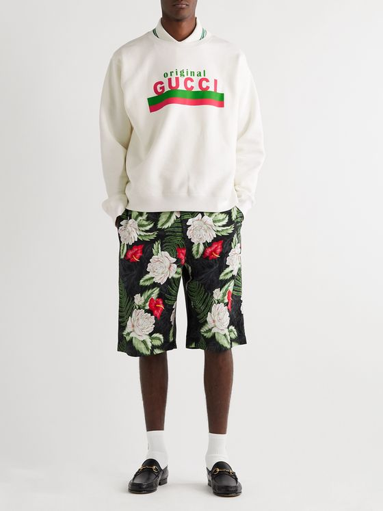 GUCCI Logo-Print Loopback Cotton-Jersey Sweatshirt