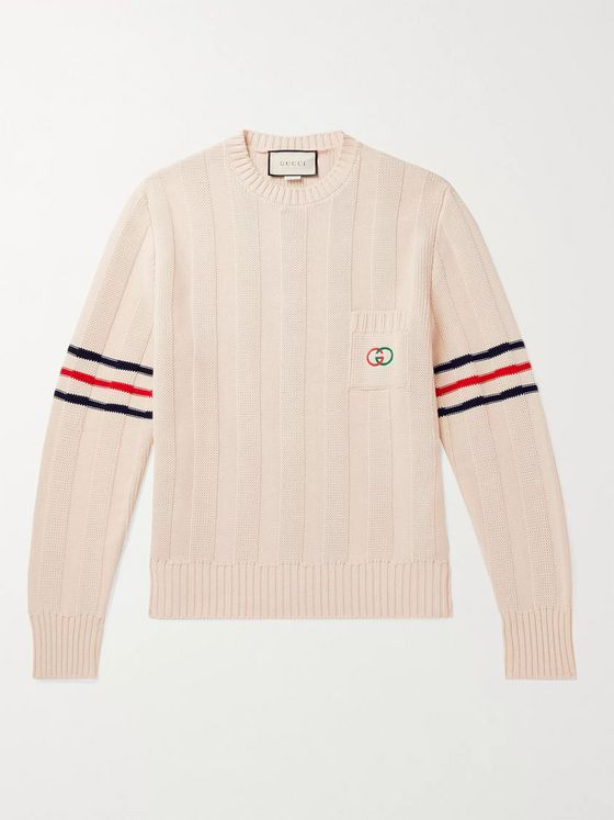 GUCCI Striped Logo-Embroidered Cotton Sweater