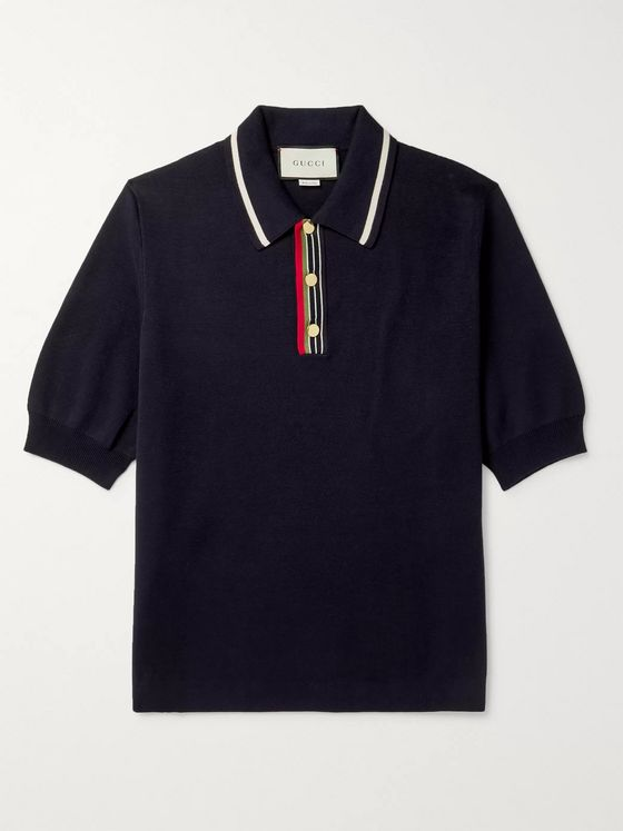 GUCCI Contrast-Tipped Webbing-Trimmed Cotton Polo Shirt