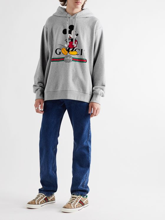 GUCCI + Disney Logo-Print Mélange Loopback Cotton-Jersey Hoodie