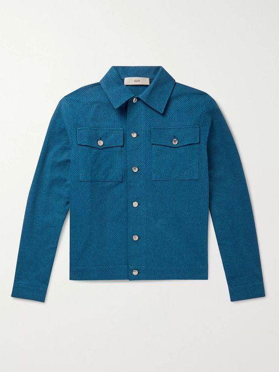 Séfr Eric Herringbone Brushed-Cotton Shirt Jacket