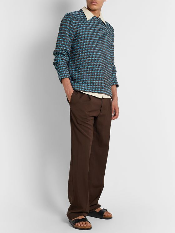 Séfr Leath Ribbed Cotton and Linen-Blend Sweater