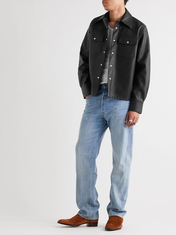 Séfr Matsy Faux Leather Shirt Jacket