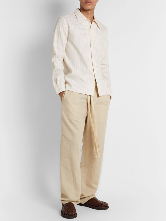 Séfr Ripley Embroidered Striped Linen and Cotton-Blend Shirt