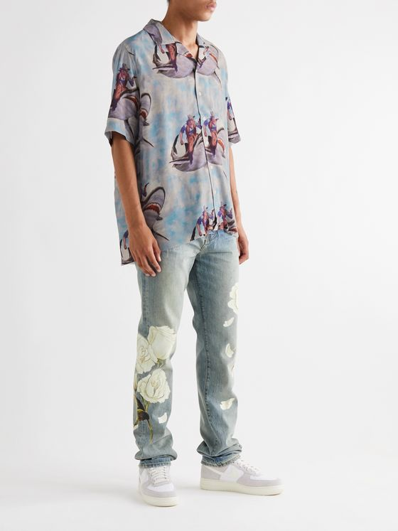 Rhude Camp-Collar Printed Voile Shirt