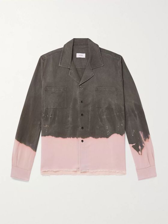 Rhude Camp-Collar Dip-Dyed Voile Shirt