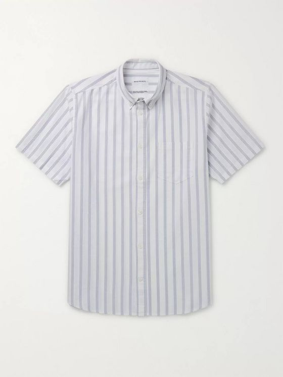 Norse Projects Theo Buttton-Down Collar Striped Cotton Oxford Shirt