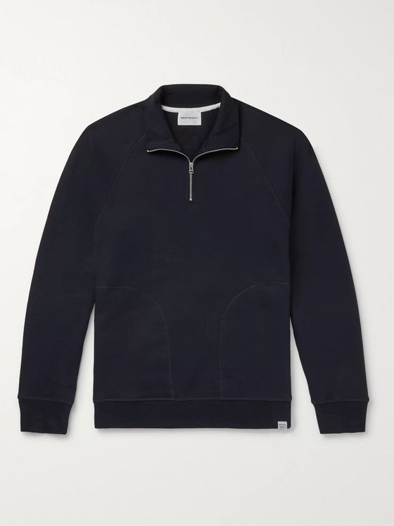 Norse Projects Alfred Loopback Cotton-Jersey Half-Zip Sweatshirt