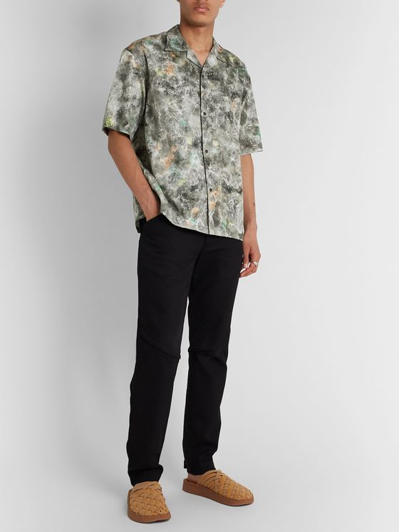 Sasquatchfabrix. Norihagashi Camp-Collar Printed Cotton Shirt